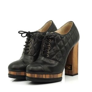 Auth Chanel Boots 7 Shoes Quilted Black #1662C28